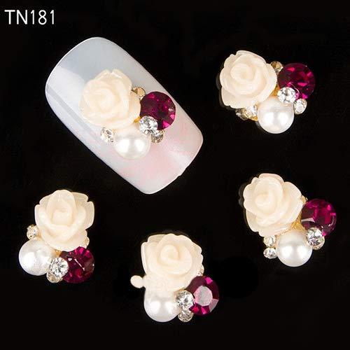 Nagelpflege & Nagellack Nail Stikers 10 Stück 3D Rose Blume Nail Art Aufkleber Tipps Nieten Strass Nagel Dekor Schmuck einfach zu bedienen, Maniküre-Werkzeug, schön, 3D Rose Blume – TN181-Weiß