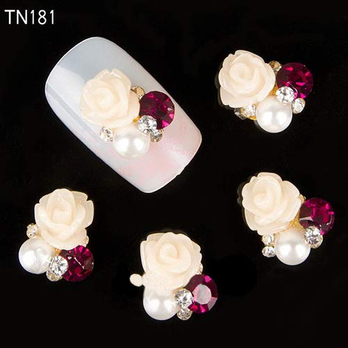 Nagelpflege & Nagellack Nail Stikers 10 Stück 3D Rose Blume Nail Art Aufkleber Tipps Nieten Strass Nagel Dekor Schmuck einfach zu bedienen, Maniküre-Werkzeug, schön, 3D...