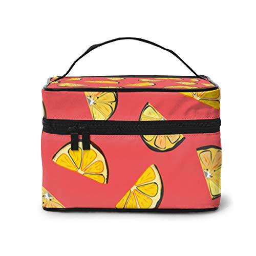 Bolsas de Maquillaje Gráfico de limón orgánico en Coral Completo 1 Maquillaje...