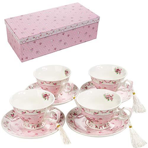 Set di 4 tazze da tè in porcellana con piattino, stile shabby chic, vintage, con motivo di uccelli, farfalle e fiori, con confezione regalo, Ceramica, Rosa, 11x8cm