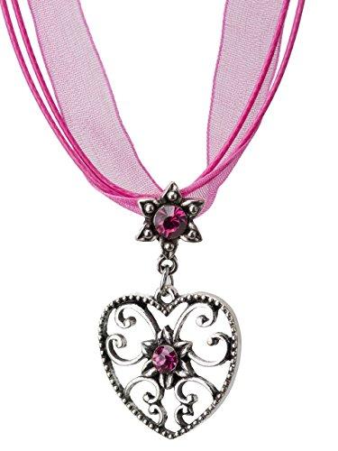 Trachtenkette Alpensonne Herz und Edelweiss Anhänger mit Strass - Trachtenschmuck Kette für Dirndl und Lederhose (Pink)