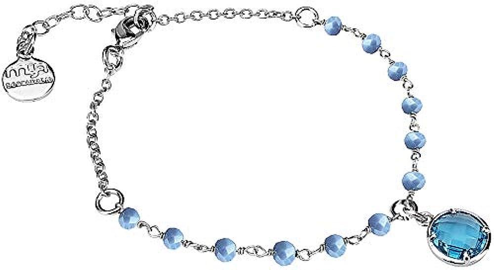 Boccadamo, bracciale per donna, in bronzo rodiato con cristalli celesti e cristallo sky ,con pendente Ik/Br25