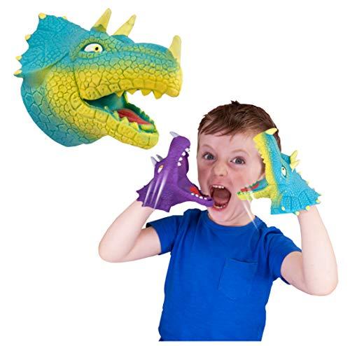 Marionetas de mano de Toy Snap Attack del dinosaurio del Triceratops para los niños de Deluxebase. Estos juguetes elásticos de la marioneta jurásica del dinosaurio hacen los grandes juguetes de ADHD y