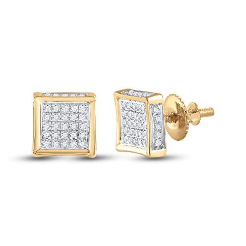 Saris and Things 10k oro amarillo redondo para hombre la plaza del diamante cluster pendientes de 1/8 cttw