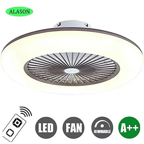 ALASON Fan Deckenlampe 32W Deckenventilator Mit LED Beleuchtung Und Fernbedienung Leise Ventilator Kreative Unsichtbare Deckenventilatoren Beleuchtung Schlafzimmer Deckenlampe,Braun