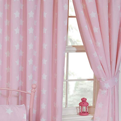 Price Right Home - Cortinas con forro (168 x 183 cm), diseño de estrellas, color rosa y blanco