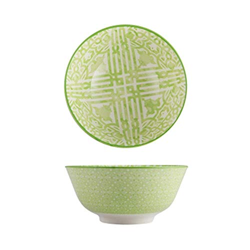 GAOFQ Tableware, Tools for Dining Large Fruit Salad Cereal Bowl Soup Ramen Pasta Mixing Serving Bowl Lovely Creative Hand Painted Ceramic Tableware Oven Microwave Safe 6 Inches,Green