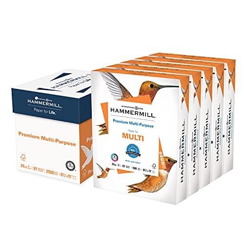 Hammermill Printer Paper, Premium Multipurpose Paper 24 lb, 8.5 x 11 - 5 Ream (2,500 Sheets) - 97 Bright, Made in the USA, 105810C