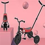 Triciclo Trike Bicicletas de equilibrio de tres ruedas de tres niños / bicicleta de triciclo / caminante / carro, plegable de un solo clic, ligero y fácil de transportar, 3 colores ( Color : Pink )