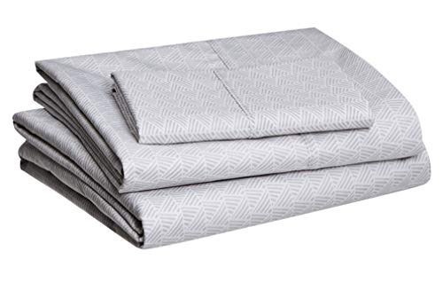 Juego de sábanas de microfibra AmazonBasics, poliéster, Sombreado gris, cama individual