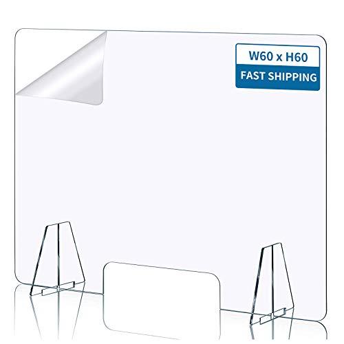 Gkodeamig Schutzschirm - Schutzwand mit Durchreiche, Thekenschutz, Glasklar, Stabil, 60x60cm(BxH)