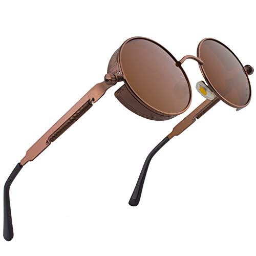 CGID Retro Sonnenbrille im Steampunk Stil runde Metallrahmen Polarisiert Brille Herren Damen Braun Rahmen Braun Gläser, CAT3, CE, E72