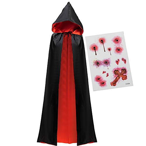Adult Unisex Vampire Costume Set with Reversible Hooded Cape Cloak and Tattoo Scar for Halloween Costume Party, Dracula…