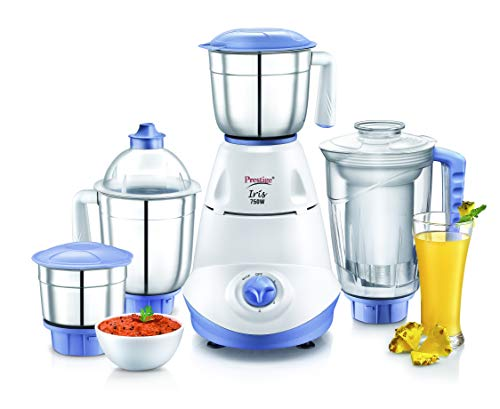 Prestige Iris 750 Watt Mixer Grinder with 3 Stainless Steel Jar + 1 Juicer Jar (White and Blue)