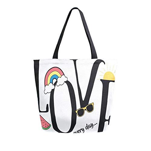 JinDoDo - Bolsa de lona reutilizable con diseño de letra de amor, diseño de sandía arcoíris
