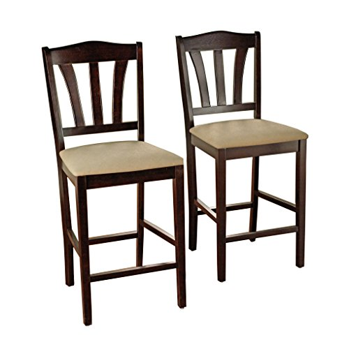 Target Marketing Systems Lucca Collection Contemporary Style High Top Barstool, Set of 2, Espresso, 24'