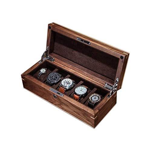 Uhrenbox 5 Grids Retro Aus Echtholz-Uhr-Box Schmuck-Vitrine 5 Uhr Aufbewahrungsbox Geschenkbox for Männer Oder Frauen