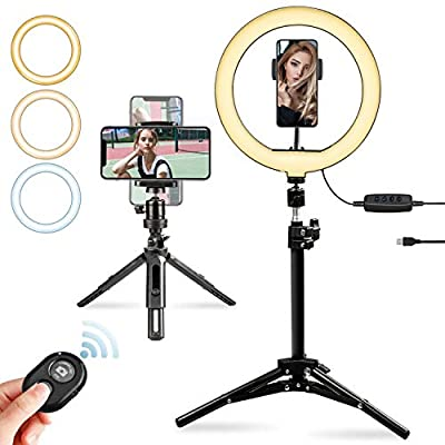 """Kasimir LED Ring Light with Two Tripod Adjustable and Phone Holder, 10"""" Dimmable Circle Selfie Ring Light Kit Camera Remote Shutter for Live Stream/Makeup/YouTube Video/Vlogging - iPhone/Android by Kasimir"""