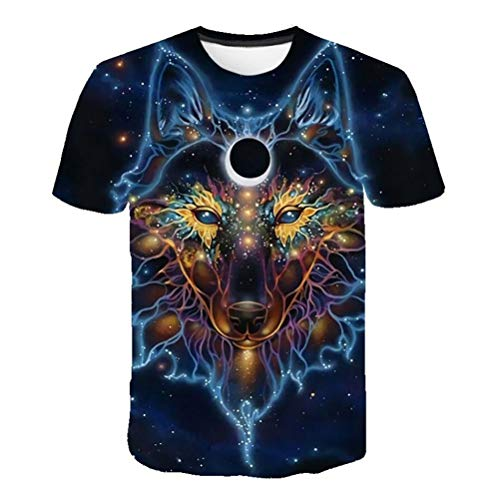 Whittie Fox Queen Print Tee Shirts Starry Sky T-Shirt pour Hommes Sports Cotton Cartoon Short Sleeve,L