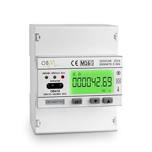 OB418 Solar-PV-Hybrid-Messgerät, 100 A Multifunktions-Messgerät mit IR, Puls und RS485 Modbus Kommunikation.