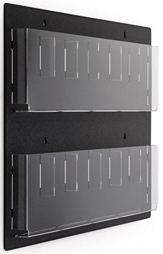 Wall Mount Brochure Holders 29�w x 23�h x 2�d Black ABS Plastic Backboard Acrylic Magazine Racks with Clear Lucite Pockets � Literature Dispensers Accommodate 8-1/2� x 11� and 4� x 9� Advertisements