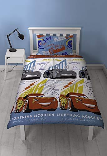 DISNEY CARS 3 Bettwäsche-Set Lightning, wiederholtes Druckdesign, Mehrfarbig, Einzelbettgröße
