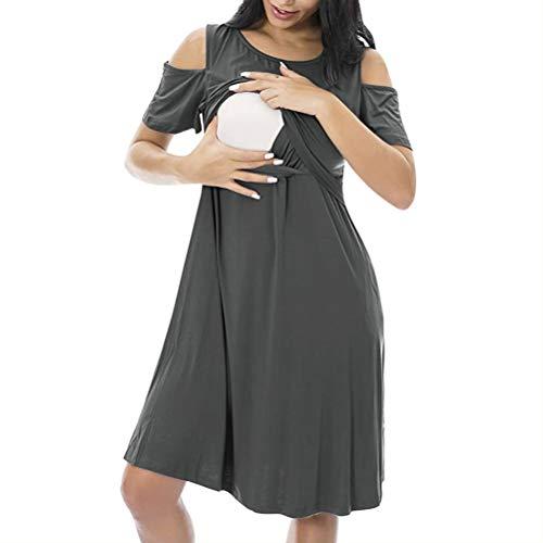 NA Schwangerschafts-Schlafanzug, ärmellos, Baumwolle, Schlafanzug, kurzärmelig XX-Large Grau
