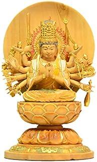 海宇工芸(kaiu art) 木彫仏像-小仏 【准胝観音菩薩】 柘植 淡彩色 ※桐箱入り