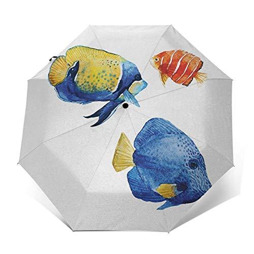 Regenschirm Taschenschirm Kompakter Falt-Regenschirm, Winddichter, Auf-Zu-Automatik, Verstärktes Dach, Ergonomischer Griff, Schirm-Tasche, Aquarium Leben Diskusfisch Goldfisch