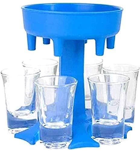 6 Shot Glass Dispenser and Holder -Dispenser for Filling Liquids, Shots Dispenser, Multiple 6 Shot Dispenser, Bar Shot Dispenser, Party Weekend Cocktail Dispenser, Dispenser with Slogan ,Azul