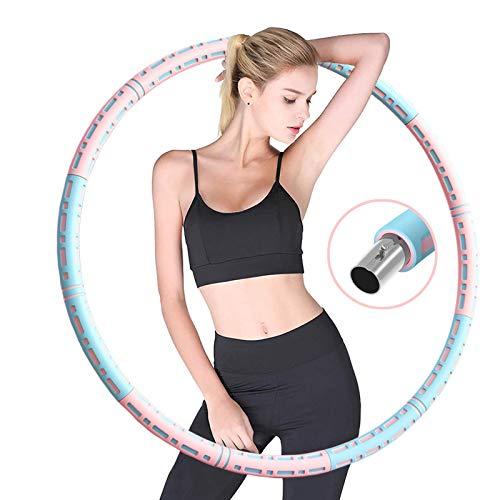 XKUN Hula Hoop Ajustable,aro Gimnasia Ritmica Accesorios de Fitness Perder Peso Pesas para Hacer Ejercicio niña Desmontable Aros de Fitness(Pink Blue)