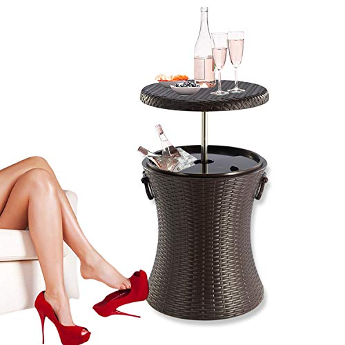 Rattan Style Outdoor Cool Bar Ice Cooler Table Garden Furniture Color Brown by Crystals