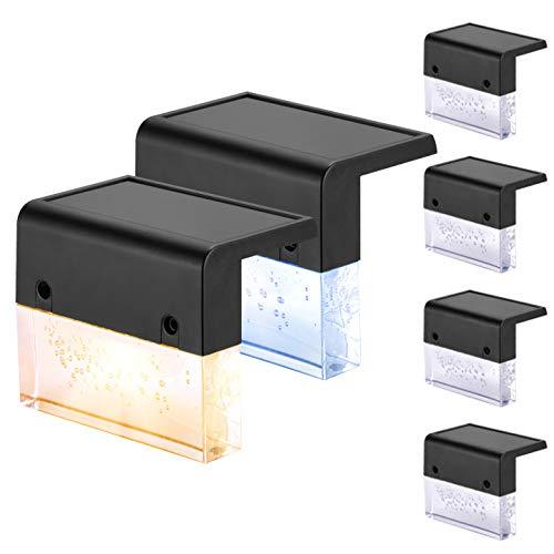 Solar Wandleuchte - Solarlampen für Außen Drahtloser Lichtsensor IP65 Wasserdicht Wandlampe Led Zwei Beleuchtungsmodi Warmes Weiß und Farbe Geeignet für Garten Pfad Zaun Wand Terrasse Treppe 6 Stück