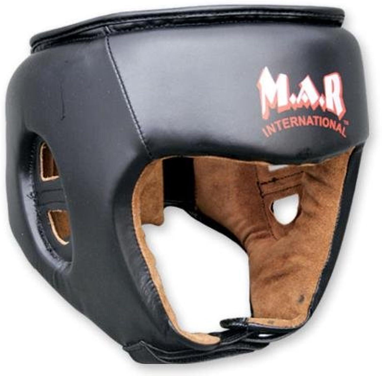 M.A.R International Ltd echtes echtes echtes Rindsleder Leder Kickboxen Kopfschutz Thai Boxing MMA Muay Thai Taekwondo Karate Judo Training schwarz one Größe schwarz Senior B00GBU29H0  Freizeit 7e02bb