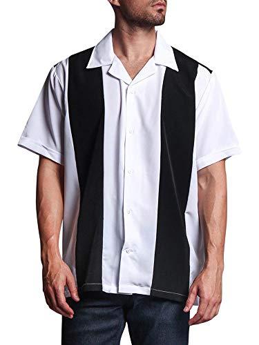 G-Style USA Men's Two Tone Retro Bowling Shirts 2018-BOW - Black/White - Large