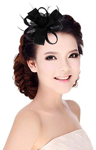La Vogue Pince à Cheveux Plume Fleur Mariage Cérémonie Bal Pour Femme Noir