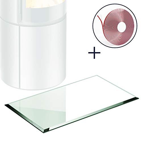 Kamin Glasbodenplatte + Dichtlippe | Rechteck 400 x 600mm | Facettschliff | 6mm ESG
