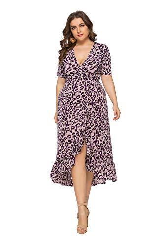 Damen-Kleid, Übergröße, Leopardenmuster, V-Ausschnitt, kurze Ärmel, legeres Party-Cocktailkleid, knielang Gr. 46 DE/48 DE X-Large , violett