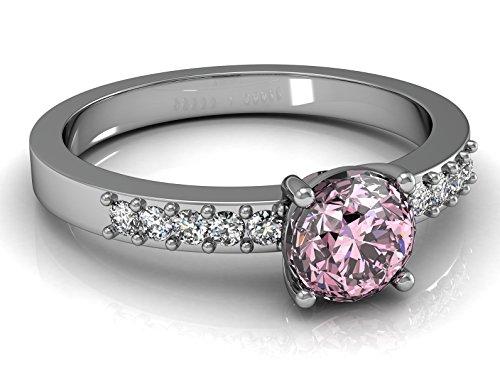 5JOYAS Espectacular Anillo En Oro 18kt con 10 Diamantes G-VS1 Blanco Extra y 1 Circon Central Rosa Francia (Talla 7 a 27)