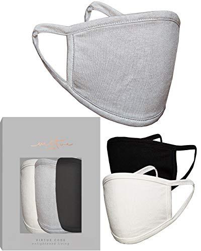 Maulbeere Neutrale Seidenmaske in Creme Grau Schwarz von VIRTUE CODE Stoffgesichtsmasken 3 Stück