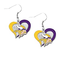 Aminco NFL Minnesota Vikings Swirl Heart Earrings