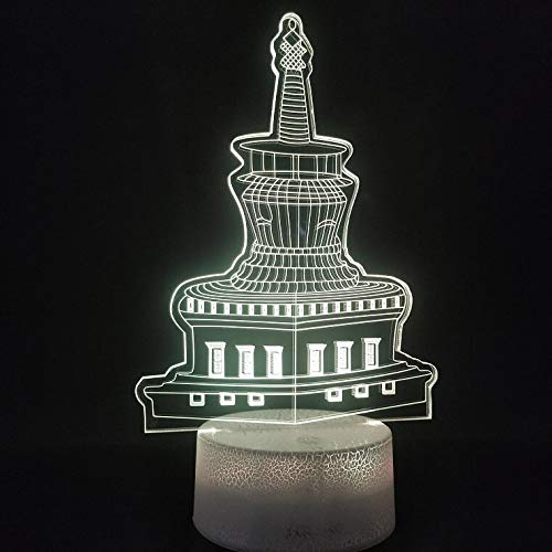 sanzangtang LED-Nachtlicht 3D-Vision-Sieben-Farben-Remote-Licht 7 Farben für Wohnzimmerdekoration TurmNachtlicht