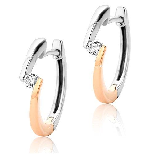 Orovi Pendientes de aro con diamantes de 9 quilates (375), dos colores/oro blanco y oro rosa (0,08 quilates)