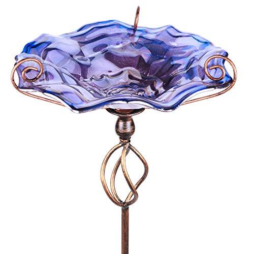 MUMTOP Vogeltränke aus Glas mit Metallpfahl, 88,9 cm Höhe, Violett