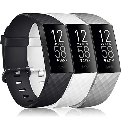 Vancle 3 Pack Kompatibel für Fitbit Charge 3 Armband/Fitbit Charge 4 Armband, Klassisch Sport Verstellbares Ersatzarmband für Fitbit Charge 3/Fitbit Charge 4 (Schwarz/Weiß/Grau, L)