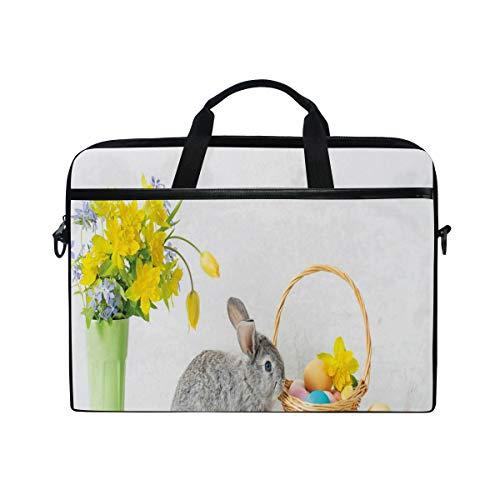 VICAFUCI New 15-15.4 Zoll Laptop Tasche,Umhängetasche,Handtasche,Klares Gelb blüht Gray Holiday Rabbit Dyed Easter Eggs im Korb-Foto