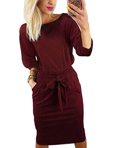 BB&KK Women's 3/4 Sleeves Midi Dress Bodycon with Pockets and Belt Formal Plus Size Pencil Dress (2XL,Wine Red)