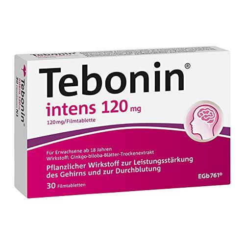 Tebonin® intens® 120mg wirksam bei akutem und chronischem Tinnitus* – Pflanzliches Arzneimittel mit Ginkgo-Spezialextrakt EGb 761(R) – 30 Filmtabletten