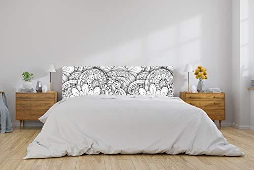 Oedim Cabecero Cama PVC Mandala Flores Blanco y Negro 135x60cm | Disponible en Varias Medidas | Cabecero Ligero, Elegante, Resistente y Económico
