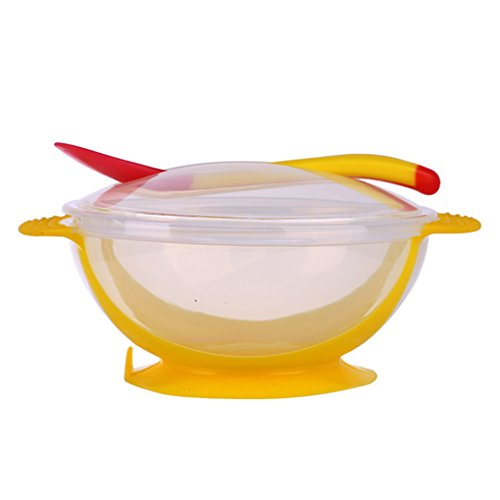 Masterein Bébé Nourrissons Sucker Bowl avec Température Couverture Sensing CUILLERE Bols Formation du Nouveau-Né PP Enfant en Bas Âge Jaune